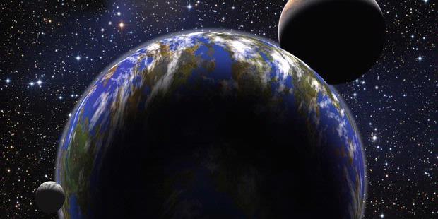 Ilustrasi Bumi dengan Dua Bulan